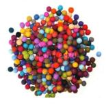 Viltkralen gemengde kleuren Bij vilt enzo