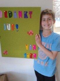 Prikbord als Afscheidskado Juf gemaakt door Sven en Gina