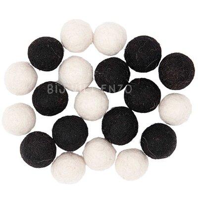 20 Viltkralen 15 mm Zwart Wit Mix