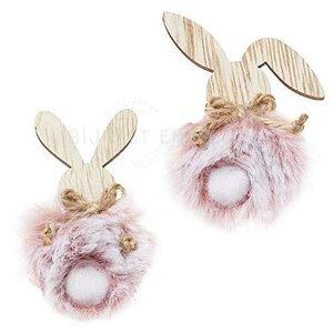 2 Houten haasjes met roze Pluche Bij vilt enzo