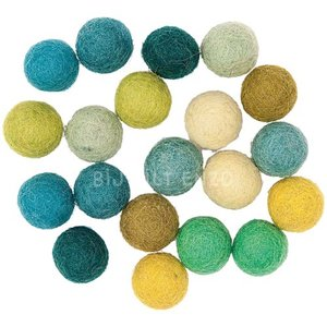 Mix Groen Blauw wolkralen Bij vilt enzo