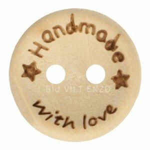 Houten knoop Handmade with Love Bij vilt enzo