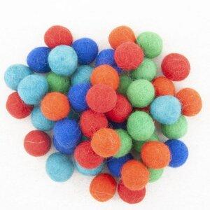 Viltkralen assortiment Kleur - 50 wolballetjes Bij vilt enzo